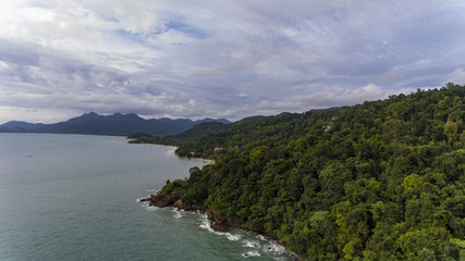 Aerial View of Koh Chang, Thailand with trees and blue water