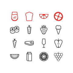 Vector illustration of 16 eating icons line style. Editable set of carrot, raw meat, strawberry and other icon elements.