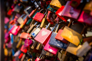 Love locks, shape of heart, bridge of love, paris