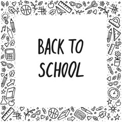 Back to school Vector Lettering and hand-drawn graphic. Template frame on white background. Vector illustration