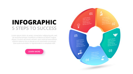 Vector gradient circle. Business template for presentation. Creative concept for isometric infographic with 5 steps, options, parts or processes.