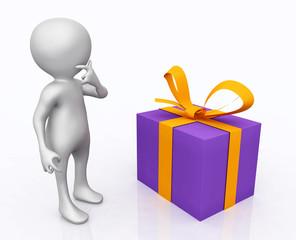 3D Figur mit Geschenkpaket