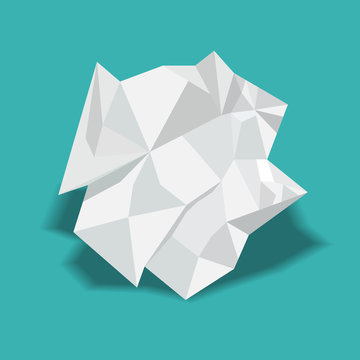 Crumpled paper ball vector illustration.