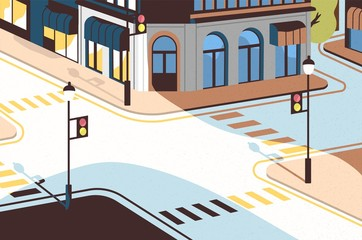 Cityscape with street intersection, elegant buildings, crossroad with traffic signals and zebra crossings or crosswalks. Downtown of modern city. Colorful vector illustration in cartoon flat style. Fotomurales