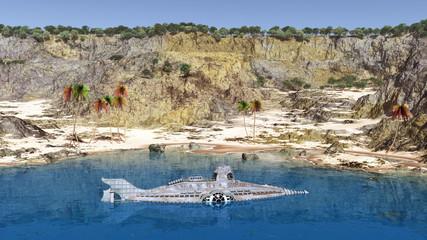 Fantasie Unterseeboot in einer Bucht
