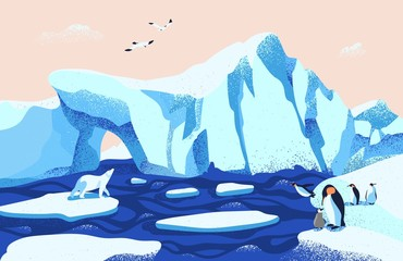 Beautiful Arctic or Antarctic landscape. Gorgeous scenery with large icebergs floating in ocean, polar bear, penguins and seagulls. Colorful vector illustration in modern flat cartoon style.