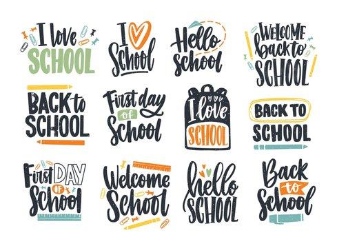Bundle of Back to School inscriptions handwritten with cursive font and decorated with stationary or writing tools. Set of written phrases isolated on white background. Colorful vector illustration.