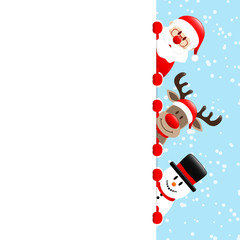 Vertical Banner Santa, Rudolph & Snowman Right Snow