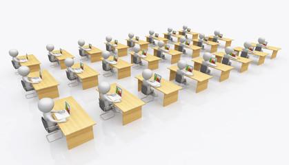 Großraumbüro mit 3D Figuren