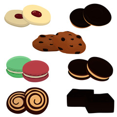 Vector set of different cookie types.