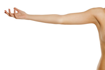 whole female arm on white background Wall mural