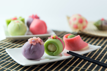 Japanese traditional confectionery cake wagashi served on plate