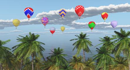 Palmen und Heißluftballone über dem Meer