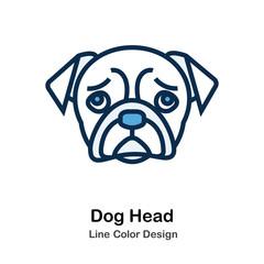 Dog Head Line Color Icon