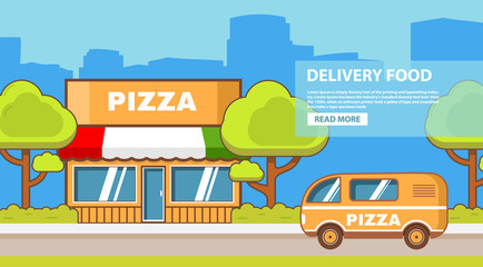 Delivery food. Building of a pizzeria. Small restaurant. Street cafe. Transportation also delivers van vehicle. Urban city landscape. Flat line art vector.Banner for the website.