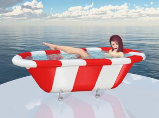 Junge Frau in einer Badewanne am Meer