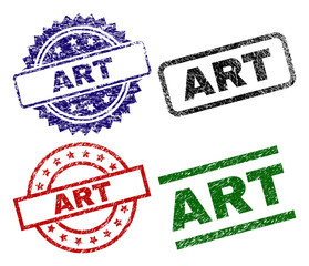 ART seal stamps with damaged texture. Black, green,red,blue vector rubber prints of ART title with retro texture. Rubber seals with round, rectangle, medallion shapes.