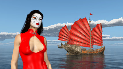 Asian woman with theatrical makeup and Chinese junk ship