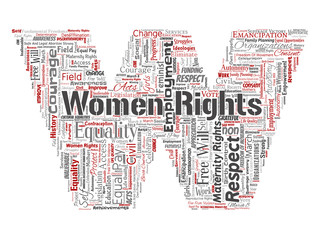 Vector conceptual women rights, equality, free-will letter font W red word cloud isolated background. Collage of feminism, empowerment, opportunities, awareness, courage, education, respect concept