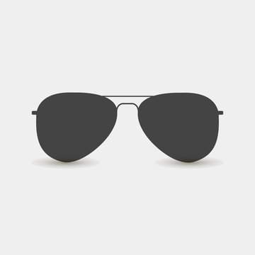 Aviators glasses vector icon. Pilot's glasses. Sunglasses protect from the sun on a gray background. Layers grouped for easy editing illustration. For your design.