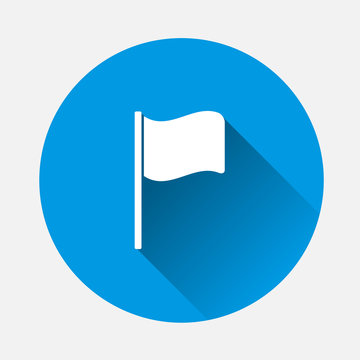 Flag icon on blue background. Flat image flag with long shadow.  Layers grouped for easy editing illustration. For your design.