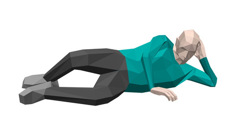 Low poly man laying on the ground. 3d vector illustration.