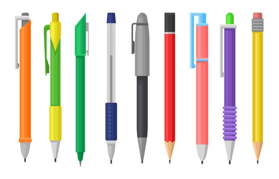 Flat vector set of colorful pens and pencils. Stationery supply. School or office tools for writing and drawing