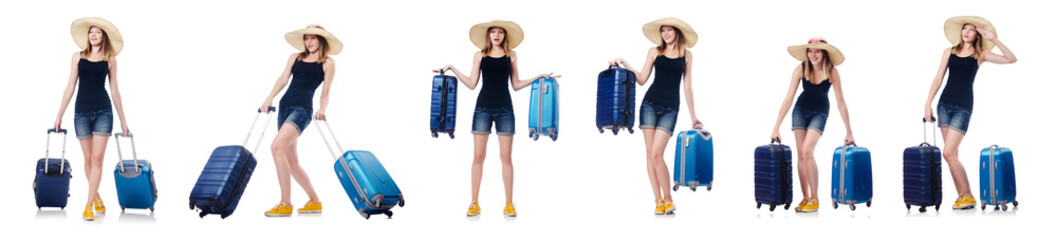Woman with suitacases preparing for summer vacation