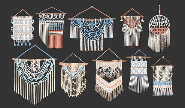Bundle of macrame wall hangings isolated on black background. Set of handcrafted house decorations in Scandinavian style made of interwoven cord. Flat cartoon colored hand drawn vector illustration.