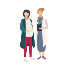 Cheerful pregnant woman standing together with female doctor, physician or midwife and talking to her. Healthy pregnancy, reproductive health. Colorful vector illustration in flat cartoon style.