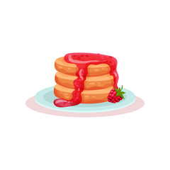 Plate of tasty pancakes with fresh raspberry jam. Delicious dessert. Sweet food. Flat vector for cafe menu or recipe book