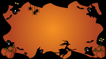 Horizontal Halloween black and orange element border and background template.