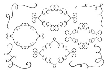 Set frame, corner hand drawn flourish Calligraphy elements. Vector illustration on a white background