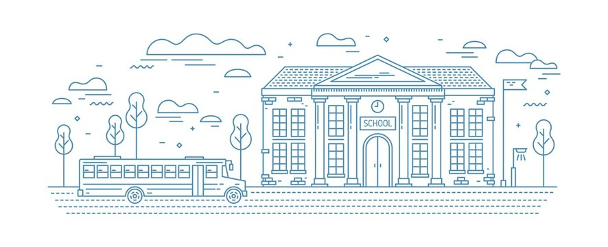 Classical school building with columns and bus for kids or pupil driving on road drawn with contour lines on white background. Educational institution. Monochrome vector illustration in linear style.