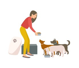Friendly female volunteer feeding dogs in animal shelter or pound. Young woman giving food to homeless puppies isolated on white background. Colorful vector illustration in flat cartoon style.