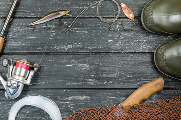 Fishing tackle-fishing, fishing, hooks and lures, on wooden background