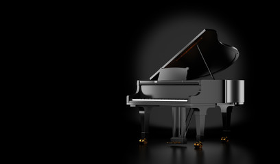 black grand piano isolated on black background