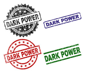 DARK POWER seal prints with corroded texture. Black, green,red,blue vector rubber prints of DARK POWER caption with corroded style. Rubber seals with circle, rectangle, medallion shapes.