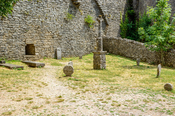 Templar graveyard in La Couvertoirade a Medieval fortified town , France