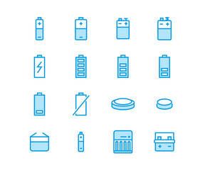 Battery flat line vector icons. Batteries varieties illustrations - aa, alkaline, lithium, car accumulator, charger, full charge. Thin signs for electrical store.