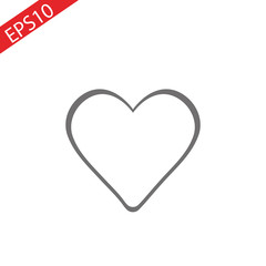 Heart icon vector illustration. Linear symbol with thin outline. The thickness is edited. Minimalist style.