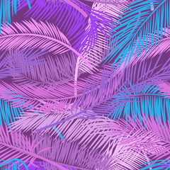 Pink and violet leaves palm tree on dark background. Beautiful seamless tropical floral pattern background. Vector pattern for print design, wallpaper, site backgrounds, postcard, textile, fabric.