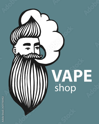 Hand-drawn hipster logo with mustache and beard  Man with