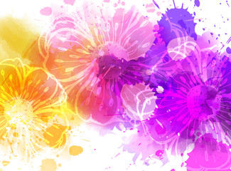 Watercolor background with flowers.