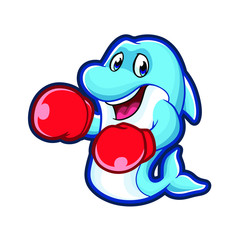Punching Dolphin Mascot Design Vector
