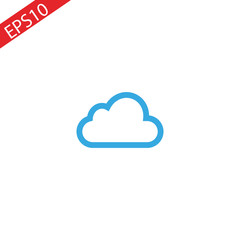 Blue cloud outline logo design template vector