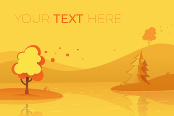 Horizontal banner with autumn landscape and copy space. Vector illustration in flat style with place for your text. Autumn illustration with tree and lake. EPS10