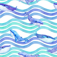 Whales in waves. Seamless pattern. Watercolor