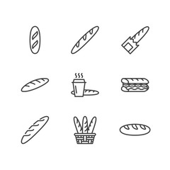 Baguette, food flat line icons. Bread house, french loaf in basket vector illustration, bakery products sign.