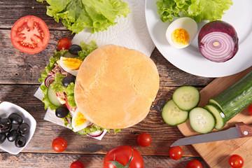 sandwich with vegetable, kebab